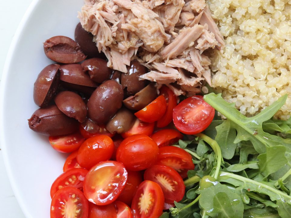 Mediterranean Quinoa and Tuna Power Bowl