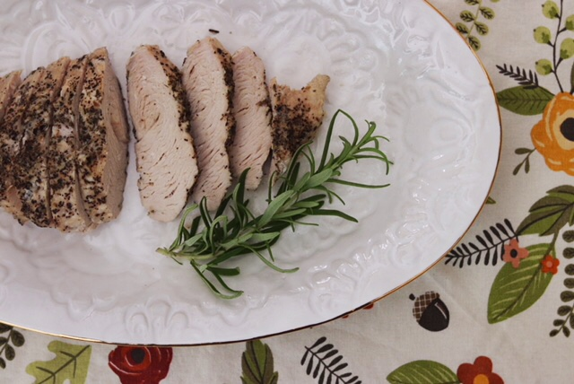 Platter with sliced Instant Pot Turkey Tenderloin
